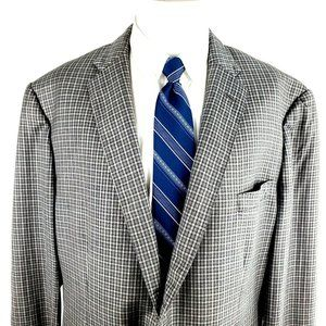 Cremieux Loro Piana 44L 2 Button Check Gray Wool